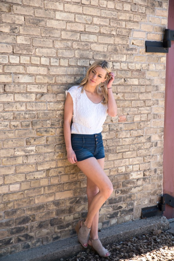 White lace and high waisted shorts