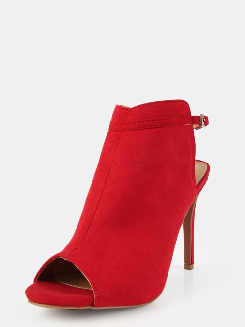 Ankle Strap Stilettp Mules in Red