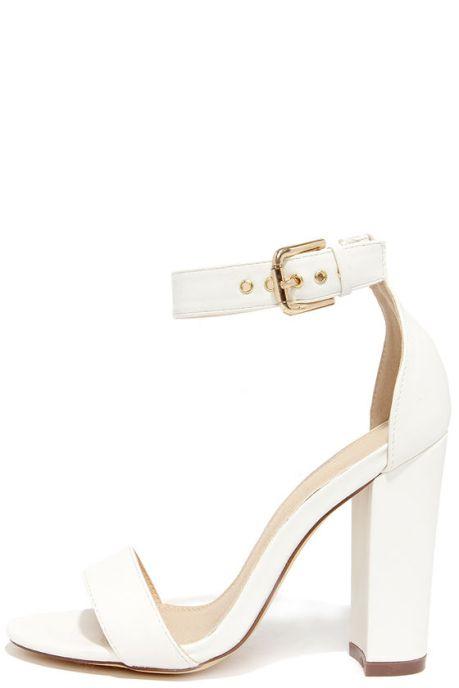 Galleria White Ankle Strap Heels
