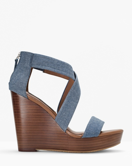 White House Black Market Chambray Wedge Sandals