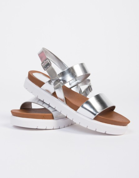 Double Banded Berkenstock-like Sandals in Silver