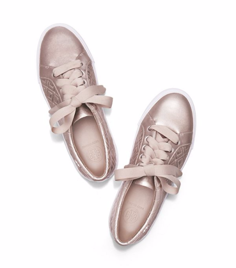 Tory Burch Marion Quilted Sneaker in Rose Gold