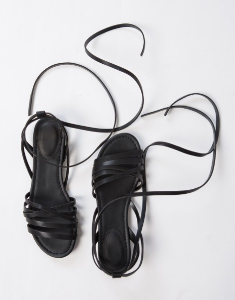 Black Leatherette Strappy Sandals