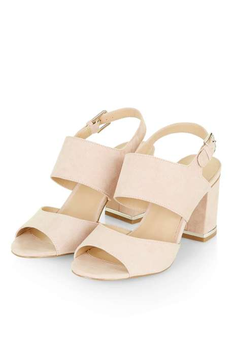 MEGHAN Blush Pink Block Heel Sandals