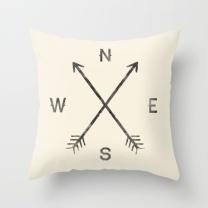 Compass Throw Pillow Cover